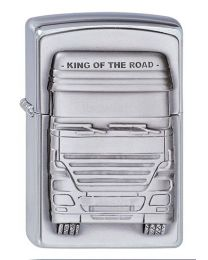 King of The Road Zippo Lighter in Brushed Chrome 1300176