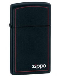 Matte Black Slim Zippo Lighter with Border 1618ZB