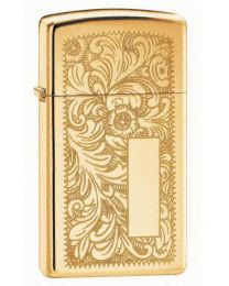 Slim Venetian Polished Brass Zippo Lighter 1652B