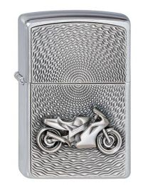 Motorbike Emblem Zippo Lighter in Brushed Chrome 2000225