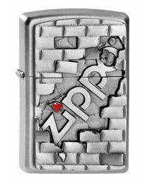 The Wall Emblem Zippo Lighter in Satin Chrome 2003963