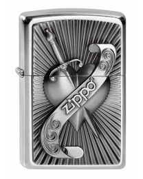 Heart with Sword Zippo Lighter in Street Chrome 2003969