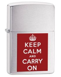 Keep Calm and Carry On Zippo Lighter in Brushed Chrome 200KCC