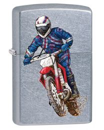 Racing Motocross Biker Zippo Lighter in Street Chrome 207BIKE