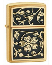 Gold Floral Flush Brass Zippo Lighter 20903