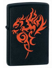 Hidden Dragon Black Matte Zippo Lighter 21067