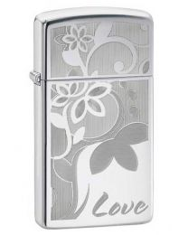 Slim Polished Chrome Love Zippo Lighter