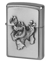 Gator Emblem Zippo Lighter in Brushed Chrome 251075