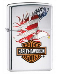 Harley Davidson Flag Eagle Chrome Zippo Lighter