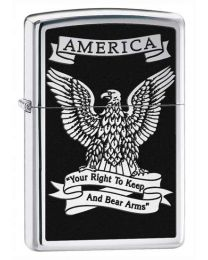 USA Eagle Zippo Lighter (Polished Chrome) 28290