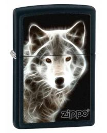 White Wolf Zippo Lighter (Matte Black) 28303