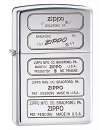 Bottom Stamps Zippo Lighter in Polished Chrome 28381