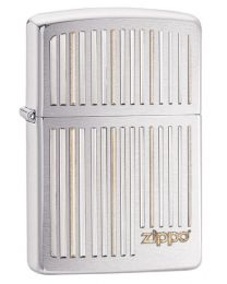 Zippo and Lines Zippo Lighter in Brushed Chrome 28646