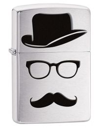Moustache and Hat Zippo Lighter in Brushed Chrome 28648