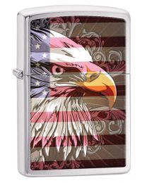 Eagle Flag Zippo Lighter in Brushed Chrome 28652