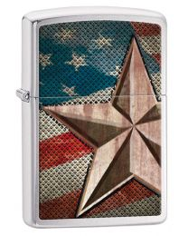 Retro Star Zippo Lighter in Brushed Chrome 28653