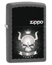 Skull Crown Zippo Lighter in Iron Stone 28660
