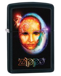 Venetian Mask and Moon Zippo Lighter in Matte Black 28669