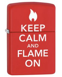 Keep Calm and Flame On Zippo Lighter in Matte Red 28671
