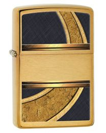 Gold And Black Zippo Lighter in Brushed Brass 28673