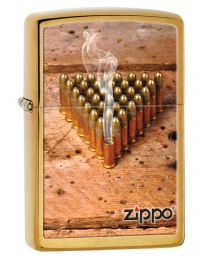 Bullets Zippo Lighter in Brushed Brass 28674