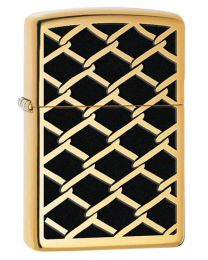 Fence Design Zippo Lighter in Polished Brass 28675