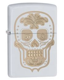 Sugar Skull 1 Zippo Lighter in White Matte - 28792