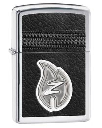 Z Leather Stitching Zippo Lighter in Polished Chrome 28800