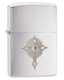 Cross Zippo Lighter with Swarovski Crystal 28804 - Brushed Chrome
