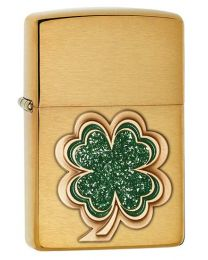 Clover Emblem Zippo Lighter in Brushed Brass 28806