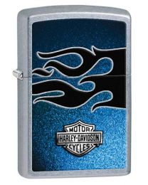 Harley Davidson Blue Zippo Lighter in Street Chrome 28822