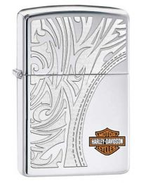 Harley Davidson Luxury Logo Zippo Lighter in Polished Chrome 28825