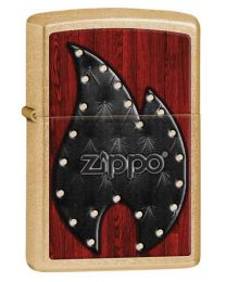 Leather Flame Zippo Lighter in Gold Dust 28832