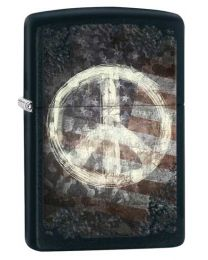 Peace on Flag Zippo Lighter in Matte Black 28864