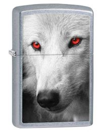Wolf with Red Eyes Zippo Lighter in Street Chrome 28877