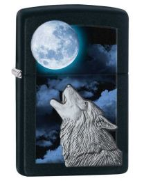 Howling Wolf Zippo Lighter in Matte Black 28879