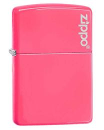 Neon Pink Zippo Lighter with Logo 28886ZL