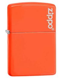 Neon Orange Zippo Lighter with Logo 28888ZL