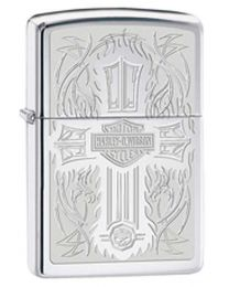 Harley Davidson HD Cross Zippo Lighter in Polished Chrome 28982