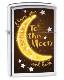 Golden Moon Zippo Lighter in High Polished Chrome 29059