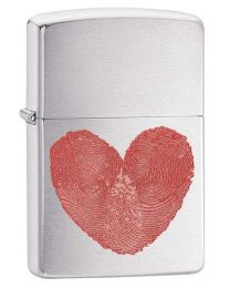 Heart Thumbprints Zippo Lighter in Brushed Chrome 29068