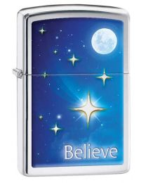 Stars Zippo Lighter in High Polished Chrome 29071