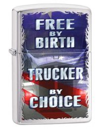 Free by Birth Zippo Lighter in Brushed Chrome 29078
