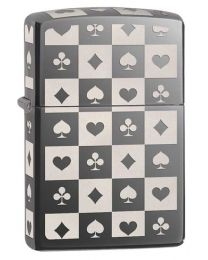 Card Suits Zippo Lighter in Black Ice 29082