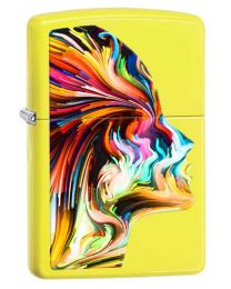 Colourful Head Zippo Lighter in Neon Yellow 29083