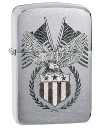 1941 Replica American Flag Zippo Lighter in Brushed Chrome 29093