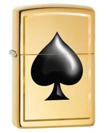 Spade Zippo Lighter in High Polished Brass 29094