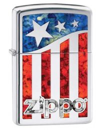 Zippo US Flag Zippo Lighter in Polished Chrome 29095