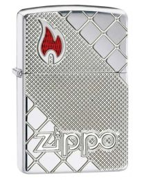 Armor Tile Mosaic Zippo Lighter in Polished Chrome 29098