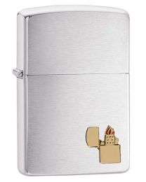 Zippo Lighter Emblem Zippo Lighter in Brushed Chrome 29102